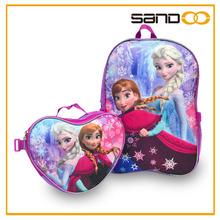 Customized frozen backpack and lunch bag set, cheap anna elsa school bag frozen