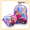 Customized frozen backpack and lunch bag set, cheap anna elsa school bag frozen