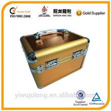 Golden small beauty case girl,cheap pvc makeup box