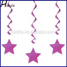 Metallic Dangling Silver Star Swirls /Silver Star Hanging Decoration /Wall Decoration SD057