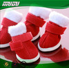 Warmly Christmas Plush Pet Shoes red dog boots Pet shoes