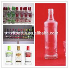 750ml smirnof de vodka de vidrio botella de tornillo de la tapa de sellado tipo de botella de vodka de vidrio flint material pequeñas botellas de licor