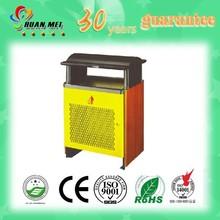 Weather resistant steel & wooden outdoor dustbin/park wooden dustbin/wood dustbin