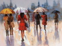 figures with umbrella oil painting on canvas