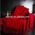 Rojo puro de la bufanda de lana de Custome Pashminas mantón