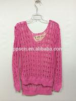 2015 new arrival fashion round neck crochet knitting crochet top,high low crochet blouse