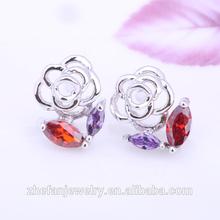 2015 Fashion Crystal Stud Earrings Pink Rose Design Earrings