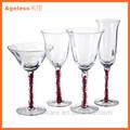 2014 venda quente novo design feito à mão vidro de vinho com pintura à mão com haste clara