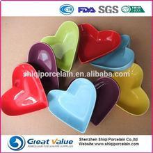 2015 italian color glazed heart shape porcelain plate
