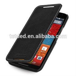 TETDED Premium Leather Case for Motorola Moto X (2nd Gen.) XT1097 -- Dijon II(LC: Black)