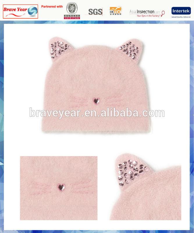 pink angora kitty beanie hat for girls