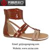 2014 New design flat sandals women's flat latest sandals designs summer shoes metallic PU upper shoes