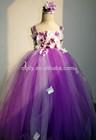 2015 Floral Children tutu dress/flower girl dress/purple tulle fairy dress,forest baby girl frock