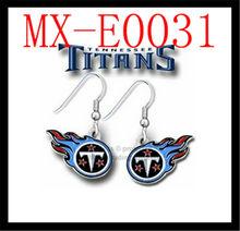 NFL Tennessee Titans Dangle Earrings Set Hook Silver J Charm Logo Accessory