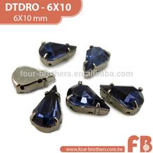 6x10mm sew on flat back rhinestones jeweled ornament for shoes