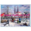 inverno paesaggio dipinto ad olio su tela