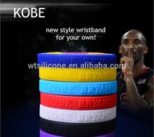 KOBE sport wristband,Emboss Silicone Wrist Band,Basketball Star Silicone Wrist Band