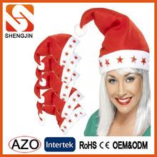 Hot Selling Flashing Fleece Christmas Hats with LED Light