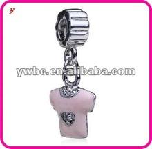 Pink enamel with crystal T Shirt European dangle beads (H102973)