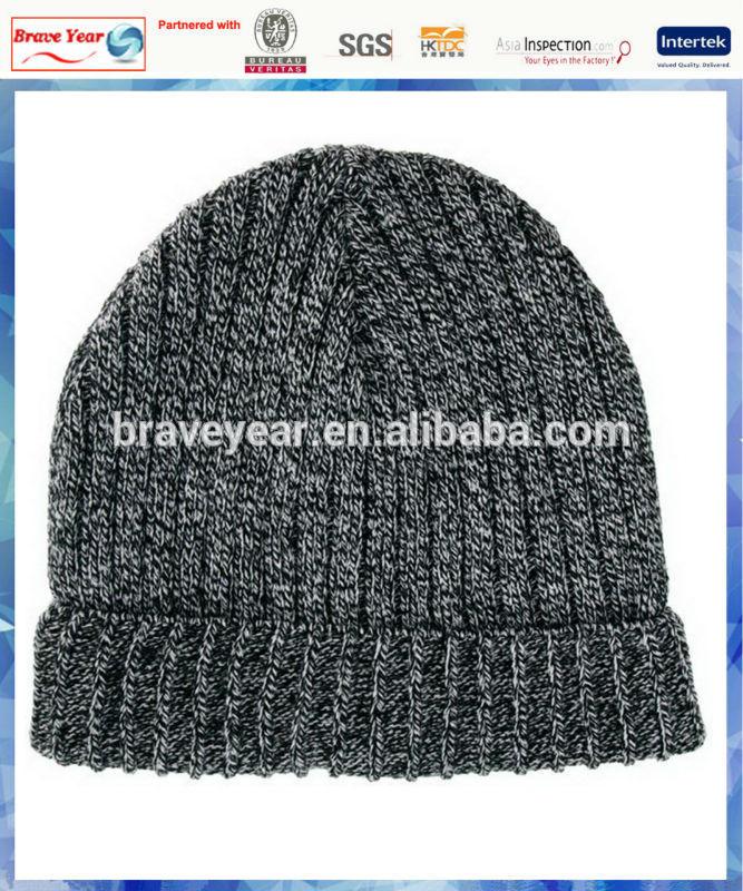 100% acrylic ribbed knit man hat beanie