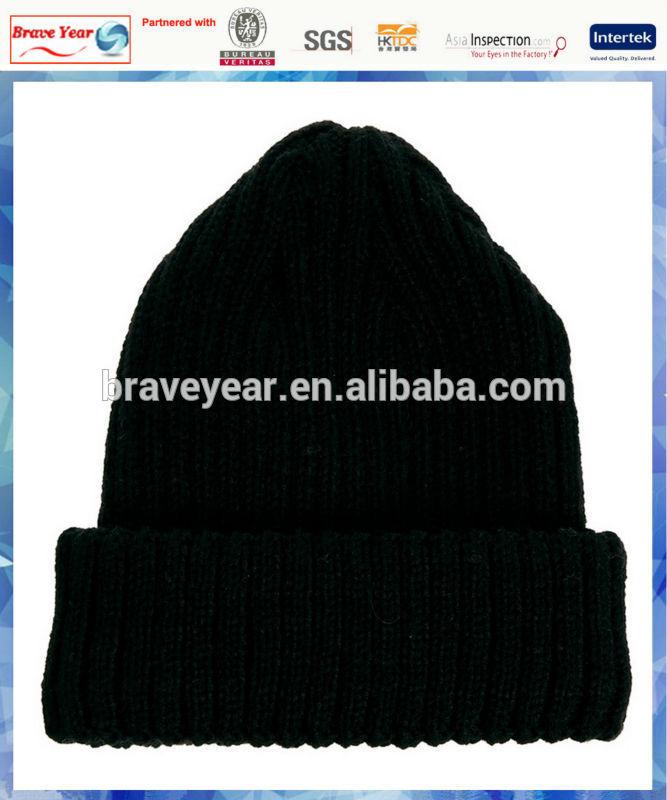 100% acrylic black ribbed beanie