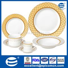 round dish youth gold slips 150-356mm luxury 10.5''/8.5''/8''/7.5'' gold rim white porcelain plates