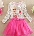 Adorable long sleeve dress,frozen elsa dress wholesale for girl