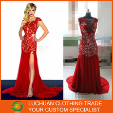 Sexy Slit Beaded Lace Cap Sleeve Red Chiffon Real Sample New Evening Dress