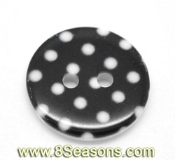 """Black Dot 2 Holes Resin Sewing Buttons 18mm(3/4""""), sold per pack of 100,8Seasons"""