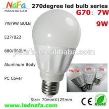 high power 9w 90-260v 270 beam angle led bulb