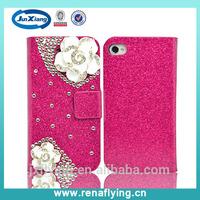 hot selling tea flower diamond flip case for iphone 5/5s