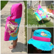Personalized Sparkling Mermaid Printed Velvet Kids Poncho Hooded Beach Towel
