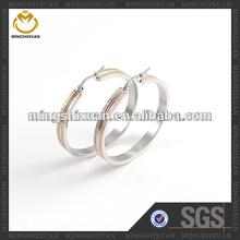 Elegant rose gold big hoop ,matt finishing earrings groove pattern stainless steel