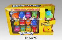 2015 new item rubber animals set toys, sliding car toys, vinyl toys car set for kids gift 14pcs/box