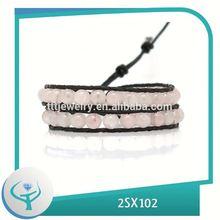 [TTT Jewelry] wholesale handmade leather bracelet Rose Quartz wrap braceletes