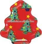 Hot sell Christmas plastic plate looks like Christmas tree plate useful with kids shape plastic plate