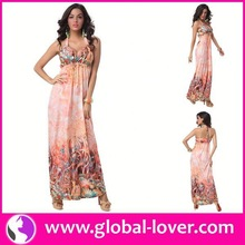 Top selling sexy cheap tall tube women sexy hippie flowing maxi dress