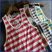 2014 striped fitness tank top, wholesale men tank tops, tank tops in bulk