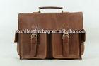 Tan Brown Genuine Leather Briefcase, Messenger Bag, Handbag 1088