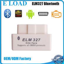 Top selling SUPER MINI ELM 327 Bluetooth OBD2 V2.1 White Smart Car Diagnostic Interface ELM 327 Wireless Scan Tool