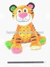 popular design 28cm safe material cartoon style stuffed tiger plush coloful tiger for kids