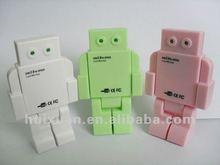 yiwu stock New arrival Robot Shaped 4-Port USB Hub