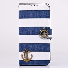 For iPhone 6 4.7 Inch , Anchor & Stripes Stand Folio Leather Case for iPhone 6