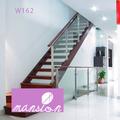 elegante escalera de madera sólida recta escalera con balaustrada Vidrio templado