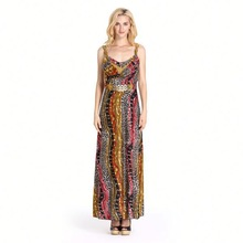 2014 Nice Beautiful Evening Dress Party Formal Flower Printed Dress for Young Lady