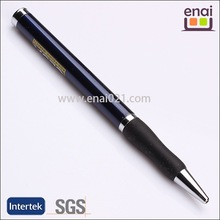 simple designed metal ball pen with rubber grip and logo imprinted