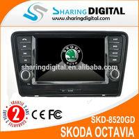 8 inch double in dvd support steering wheel control Sat navi for SKODA Octavia