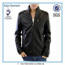 china sipplier men slim fit motor wear black faux leather pilot jacket