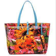 flowers printing pu handbag, lady shopping bag
