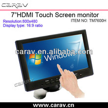 7'' TFT touch screen monitor with NTSC /PAL /SCAME ( auto )Composite video System: